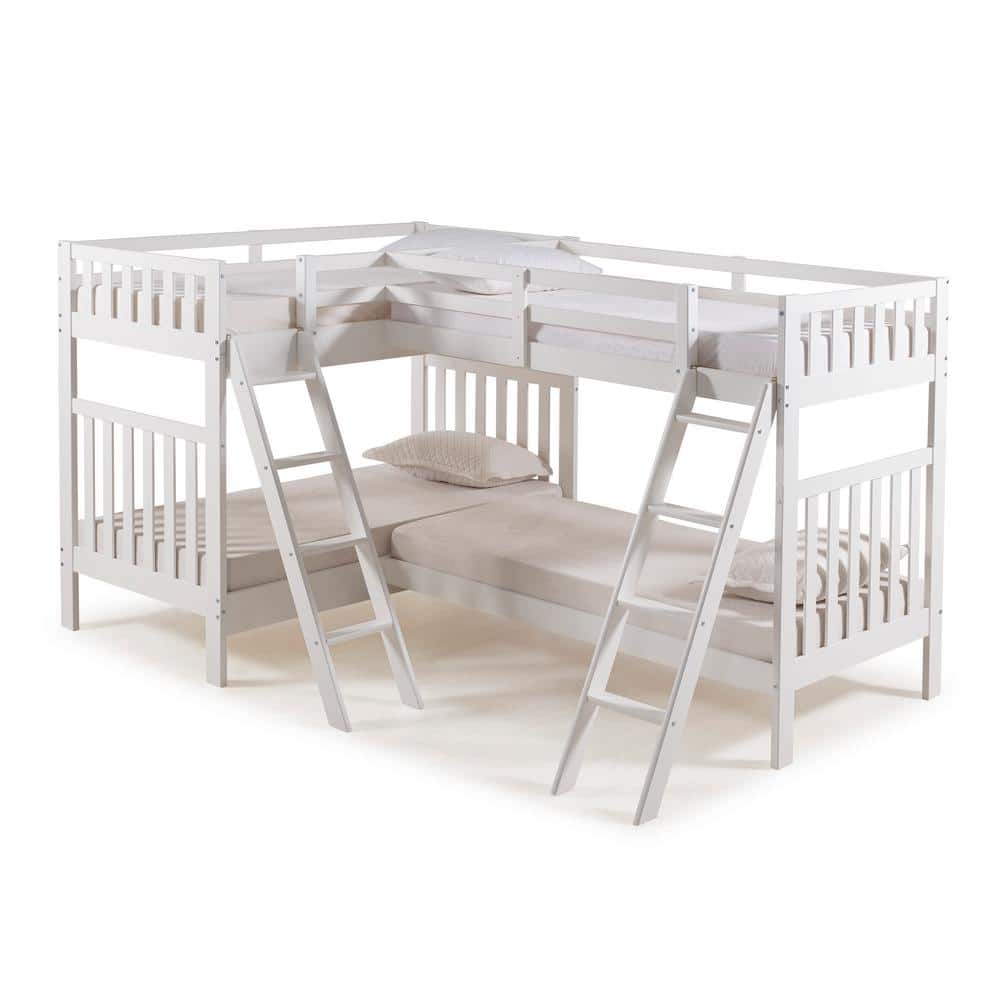 Alaterre Furniture Aurora White Twin Over Twin Bunk Bed With Quad Bunk Extension Ajau03wh The Home Depot