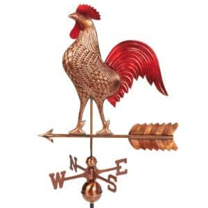 Large Rooster Weathervane - Pure Copper Hand Finished Multi-Color Patina