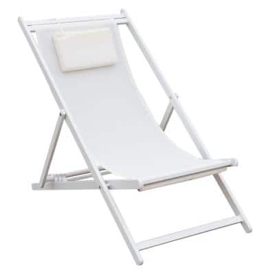 Classic Tan 1-Piece Sling Adjustable Outdoor Chaise Lounge