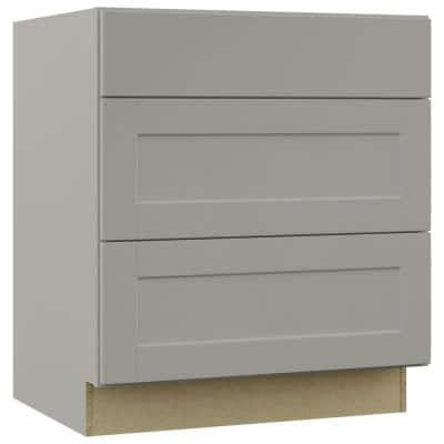 Shaker Dove Gray Stock Assembled Pots and Pans Drawer Base Kitchen Cabinet (30 in. x 34.5 in. x 24 in.)