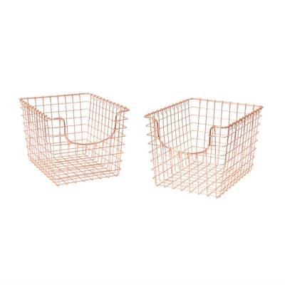 Scoop 12.75 in. D x 9.5 in. W x 8 in. H Small Copper Steel Wire Storage Bin Basket Organizer (2-Pack)
