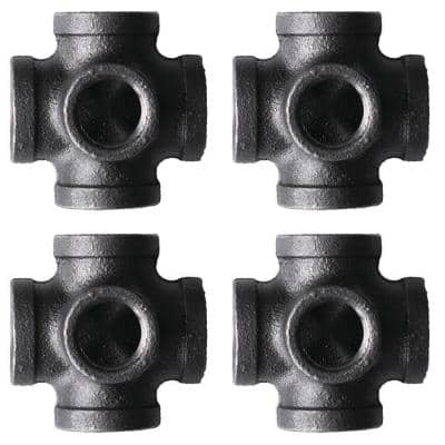 1/2 in. 5-Way Black Iron Cross with Side Outlet Fitting (4-Pack)