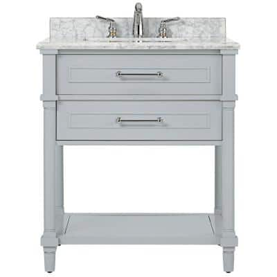 Home Decorators Collection 25 In W X 19 In D Marble Vanity Top In Carrara With White Single Trough Sink 21108 The Home Depot