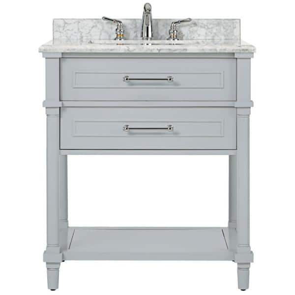 Home Decorators Collection Aberdeen 30 In W Open Shelf Vanity In Dove Grey With Carrara Marble Top With White Sink 9784500270 The Home Depot