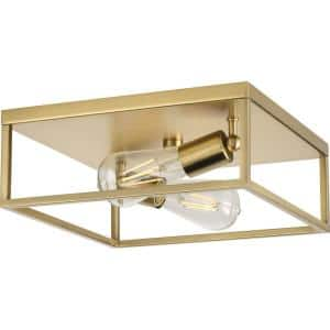 Perimeter 2-Light Satin Brass Modern Flush Mount Ceiling Light