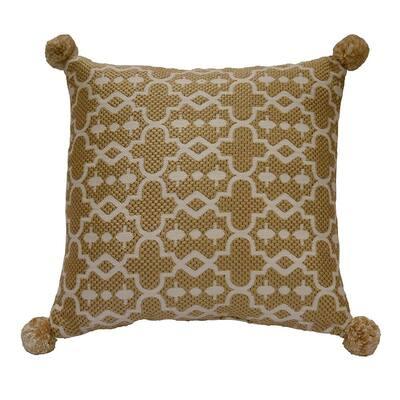 Tan Trellis Square Outdoor Throw Pillow