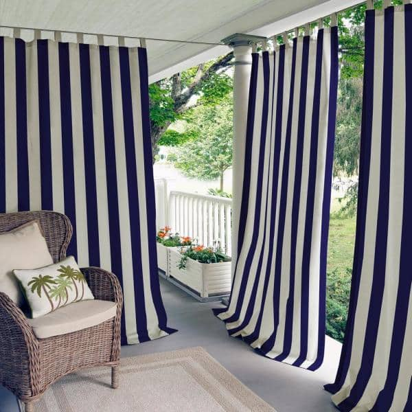 Elrene Navy Striped Tab Top Room, Navy Striped Curtains