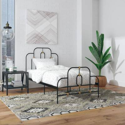 Olivia Black and Gold Metal Twin Size Bed