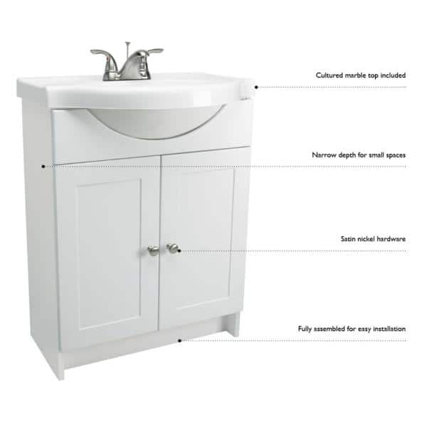 White With Cultured Marble Vanity Top, Shallow Depth Bathroom Sinks