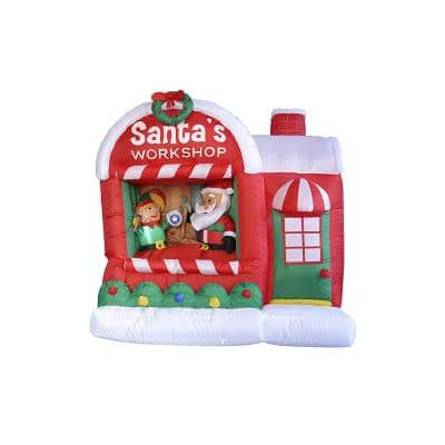60 in. Christmas Inflatable Lighted Santa Claus Workshop Outdoor Decoration