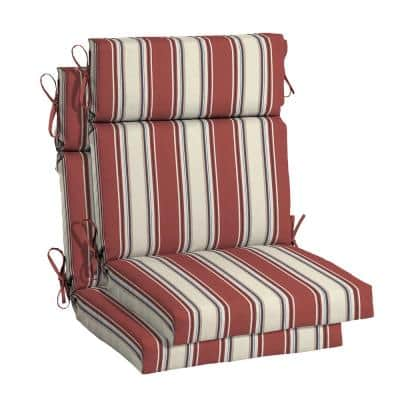 21.5 in. x 24 in. Chili Stripe Outdoor High Back Dining Chair Cushion (2-Pack)