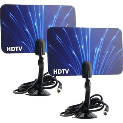 2-Digital Flat Thin Leaf TV Antenna HDTV Antenna UHF/VHF FM Radio 2x (2-Pack)