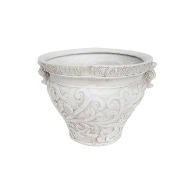 Largo 20.50 in. Antique White Concrete Urn Planter