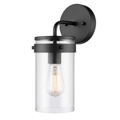 Brookdale 1-Light Matte Black Outdoor Indoor Wall Lantern Sconce With Clear Glass Shade