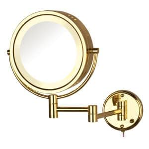 8.5 in. Lighted Wall Makeup Mirror in Bright Brass, Corded