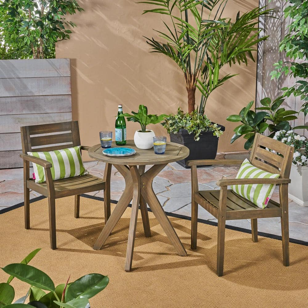 Noble House Stamford Grey 3 Piece Wood Outdoor Bistro Set With Cross Legged Table 53199 The Home Depot