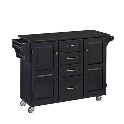 Create-a-Cart Black Kitchen Cart with Black Granite Top