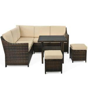 Brown 6-Piece PE Wicker Patio Sectional Sofa Set with Beige Cushion and Ottomans