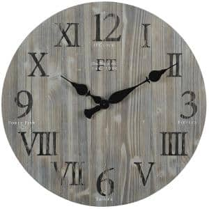 24 in. Gray Rustic Farmhouse Barn Wood Clock