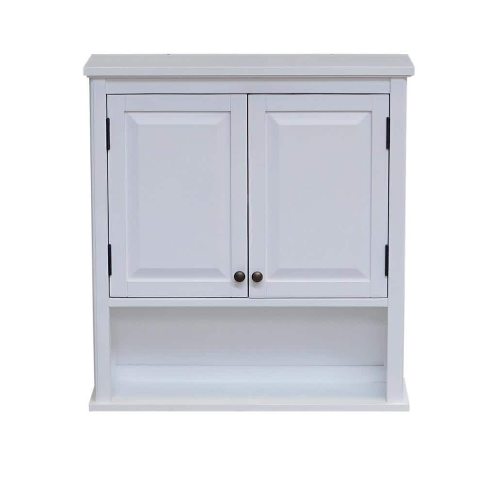 Alaterre Furniture Dorset 27 In W Wall Mounted Bath Storage Cabinet With 2 Doors And Open Shelf In White Anva74wh The Home Depot