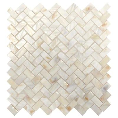 Premier Accents Pearl Herringbone 10 in. x 11 in. x 2 mm Stone Mosaic Wall Tile (0.78 sq. ft./Each)