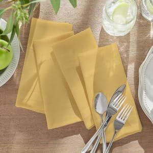 17 in. W x 17 in. L Elegance Plaid Damask Ribbon Gold Fabric Napkins (Set of 4)