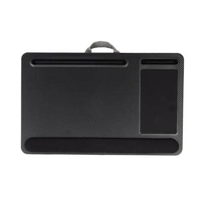 22 in. Cushioned Lap Desk Black Portable Laptop Support with Integrated Mouse Pad