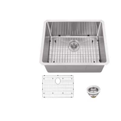 Undermount 16-Gauge Stainless Steel 23 in. 0-Hole Single Bowl Bar Sink with Grid and Drain Assembly