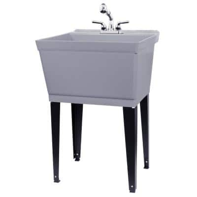 Complete 22.875 in. x 23.5 in. Grey 19 Gal. Utility Sink Set with Non-Metallic Chrome Finish Pull-Out Faucet