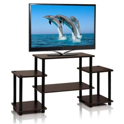 Turn-N-Tube 42 in. Dark Brown Particle Board Entertainment Center Fits TVs Up to 37 in. with Open Storage