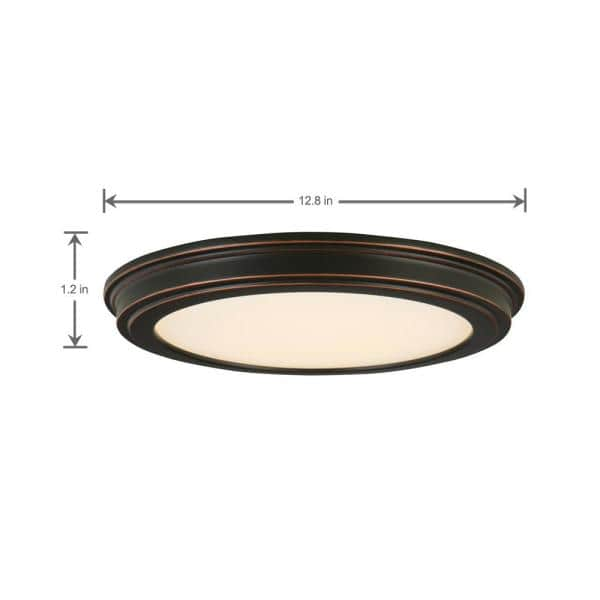 Commercial Electric 13 In Oil Rubbed Bronze Led Ceiling Flush Mount With White Acrylic Shade 2 Pack Jju3011l Orb The Home Depot