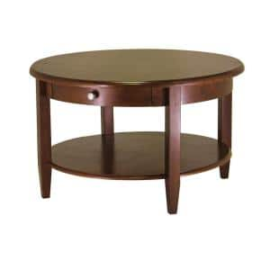 Concord 30 in. Walnut Medium Round Wood Coffee Table with Drawers