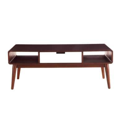 Christa White and Walnut Storage Coffee Table