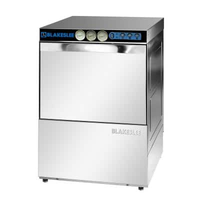 Front Control High Temperature Commercial Glasswasher in Stainless Steel, 63 dBA