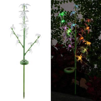 37 in. Tall Outdoor Solar Color Changing Hummingbird Green LED Landscape Flood Light Stake