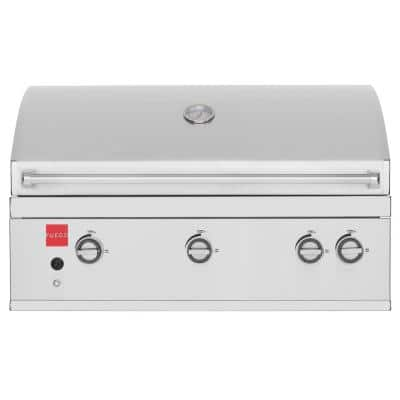 Premium 36 in. 4-Burner Built-In Natural Gas Grill in 304 Stainless Steel with Rear Infrared Rotisserie Burner