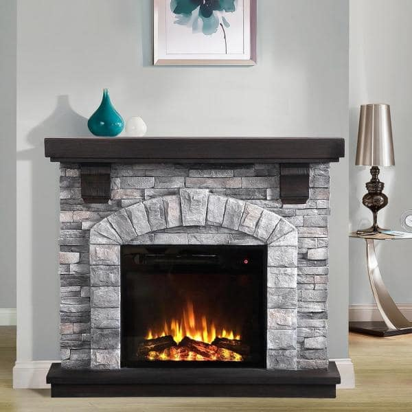 Festivo 45 In Freestanding Electric Fireplace In Gray Ffp20121 The Home Depot