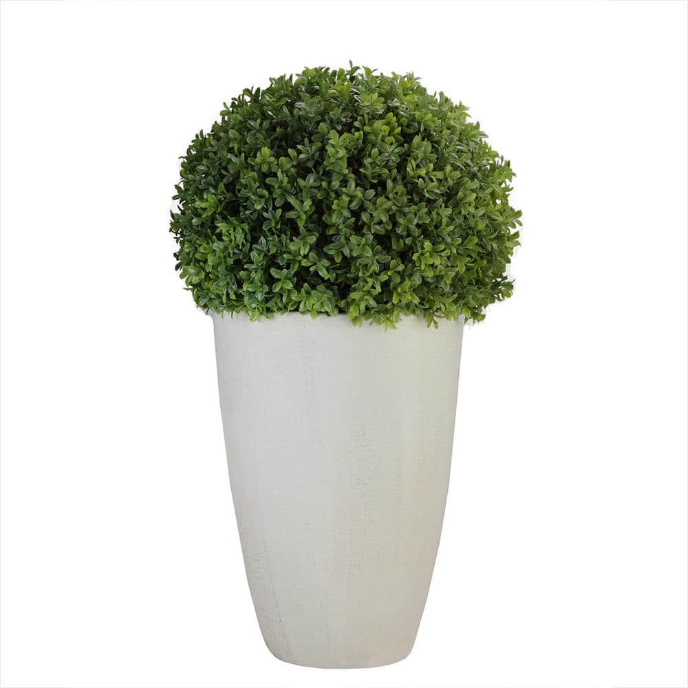 Northlight 27 In Artificial Boxwood Plant In Decorative Stone Look Ceramic Pot 32556434 The Home Depot