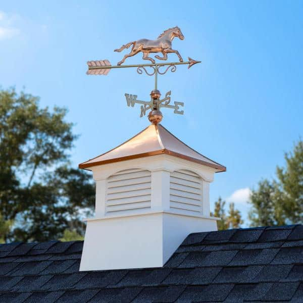 Good Directions 26 In X 26 In X 59 In Coventry Vinyl Cupola With Copper Horse Weathervane 2126cv 1974p The Home Depot