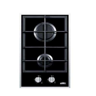 12 in. Gas-on-Glass Gas Cooktop in Black with 2 Burners