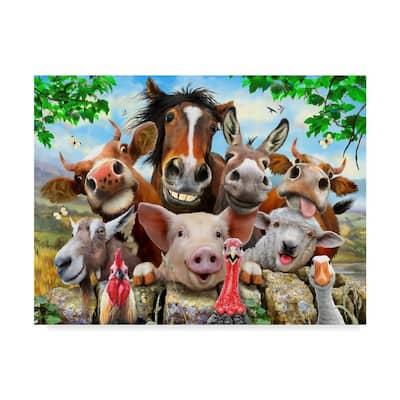 Trademark Fine Art Happy Farm By Howard Robinson Floater Frame Animal Wall Art 14 In X 19 In Ali23982 C1419g The Home Depot