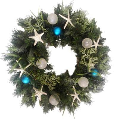 30 in. Unlit Artificial Holiday Wreath with Starfish