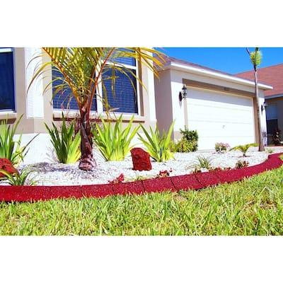 4 ft. Red Rubber Curb Landscape Edging (4-Pack)
