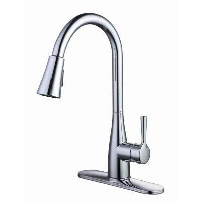 Sadira Single-Handle Pull-Down Sprayer Kitchen Faucet in Chrome