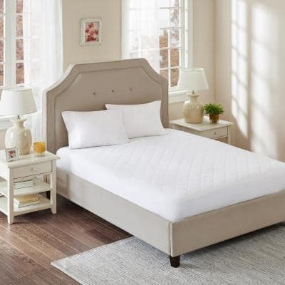All Natural White Full CottonPercale Quilted Mattress Pad with Spandex Snug-on Slip Fit Skirt