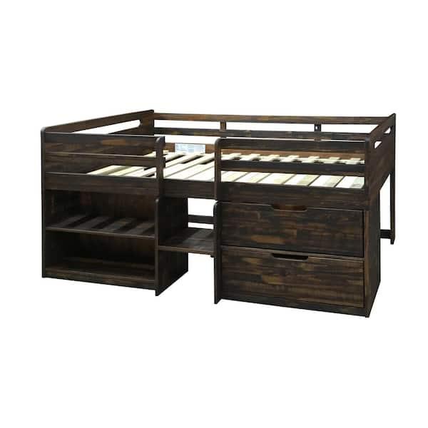 Donco Kids Rustic Oak Twin Low Loft Bed | The Home Depot