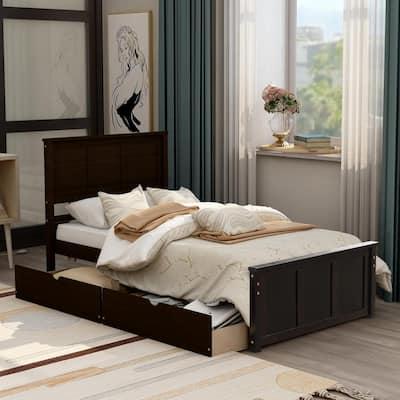 Espresso Twin Size Platform Storage Bed with 2-Drawers