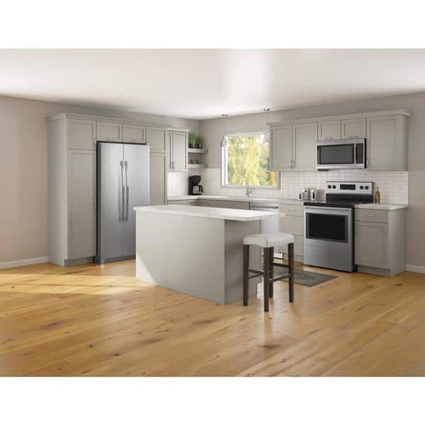 Reviews For Hampton Bay Courtland Sterling Gray Finish Laminate Shaker Stock Assembled Drawer Base Kitchen Cabinet 36 In X 34 5 In X 24 In Db36 Csg The Home Depot