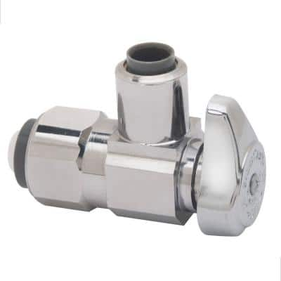 1/2 in. Push Connect Inlet x 3/8 in. Outlet Diameter Compression Outlet 1/4-Turn Angle Valve