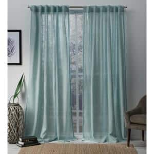 Bella Seafoam Solid Polyester 54 in. W x 84 in. L Hidden Tab Top Sheer Curtain Panel (Set of 2)